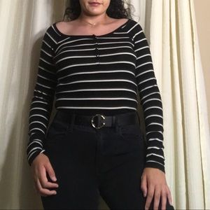 Long Sleeve Black Top With Thin White Stripes